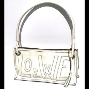Loewe white leather shoulder bag